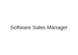 Software Sales Manager